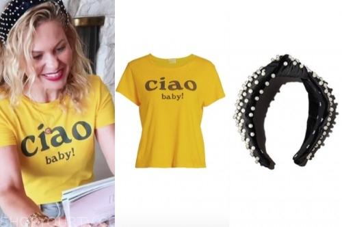 candace cameron bure, yellow ciao tee, velvet pearl headband