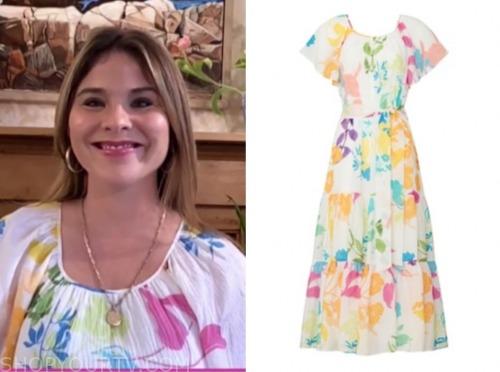 jenna bush hager, the today show, white multicolor floral midi dress