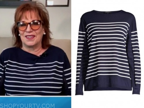 joy behar, navy blue and white striped sweater, the view