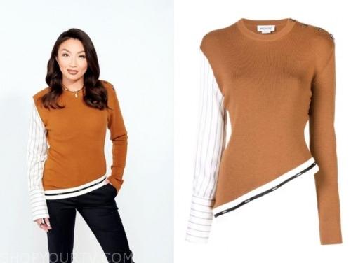 jeannie mai, the real, brown asymmetric sweater