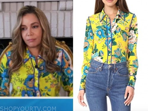 sunny hostin, the view, yellow floral blouse