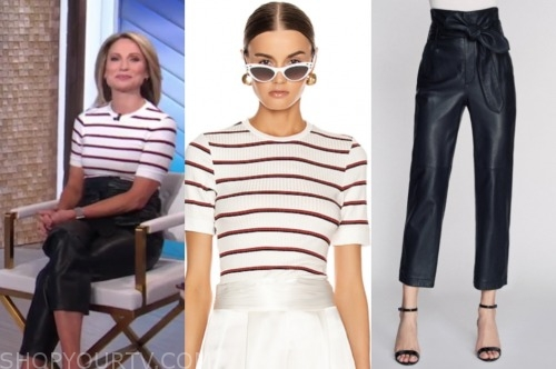 amy robach, stripe top, black leather pants, good morning america