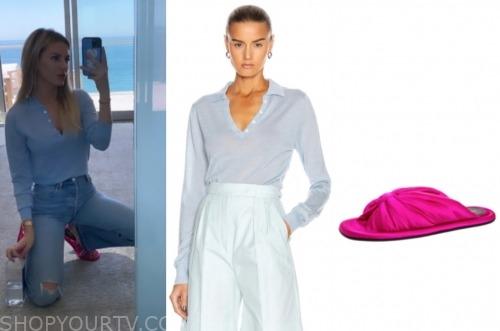 E! news: nightly pop, morgan stewart, blue top, hot pink slides
