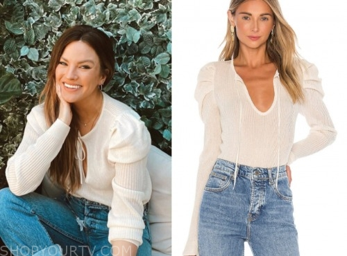 becca tilley, ivory tie neck sweater, the bachelor