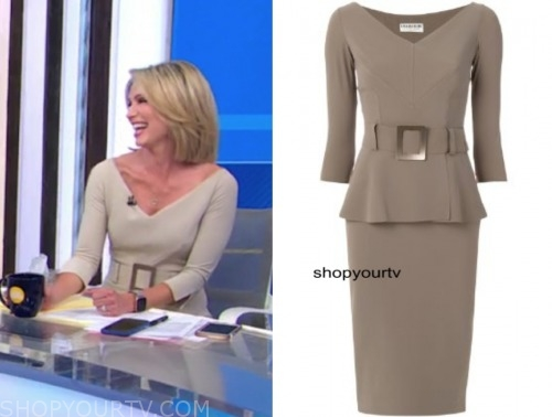 amy robach, good morning america, beige belted sheath dress
