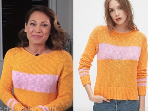 ginger zee, good morning america, orange and pink striped sweater