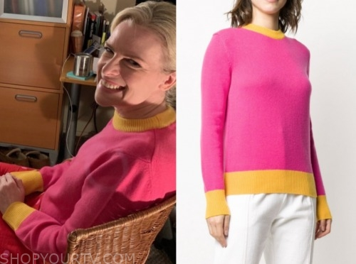 janice dean, fox and friends, pink and yellow contrast trim sweater