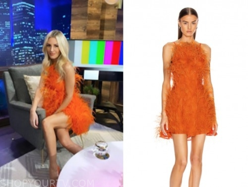 morgan stewart, E! news, orange feather dress