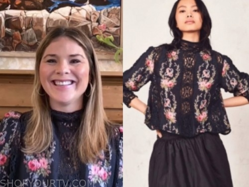 jenna bush hager, the today show, black floral lace blouse