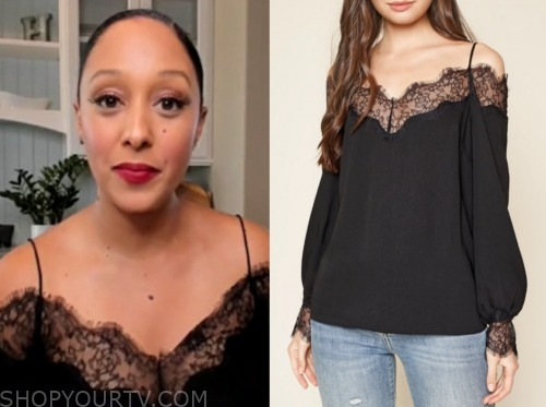 the real, tamera mowry, black lace cold-shoulder top