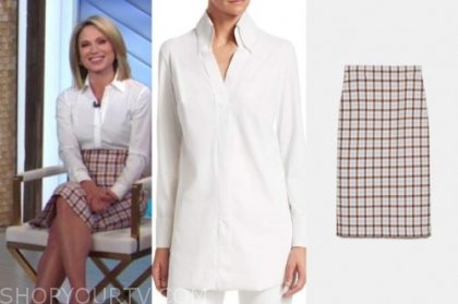 amy robach, good morning america, white shirt, gingham pencil skirt