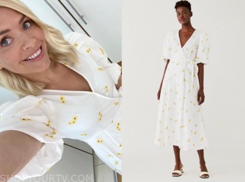 holly willoughby, this morning, white and yellow floral wrap dress