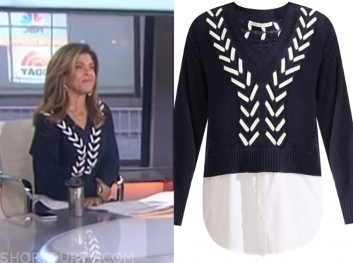hoda kotb, the today show, navy blue and white stitch sweater