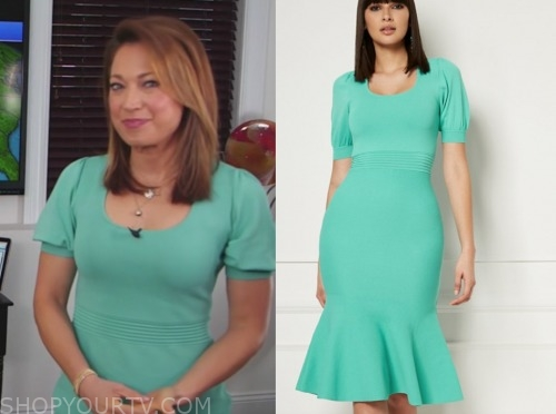ginger zee, mint green knit dress, good morning america