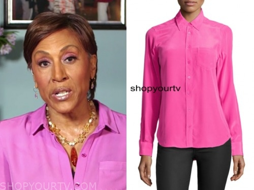 robin roberts, pink blouse, good morning america