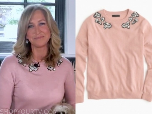 lara spencer, good morning america, pink sweater