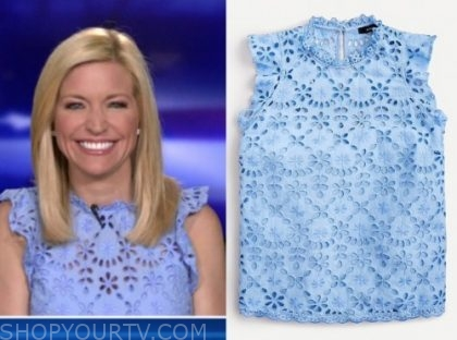 ainsley earhardt, fox and friends, blue eyelet ruffle top