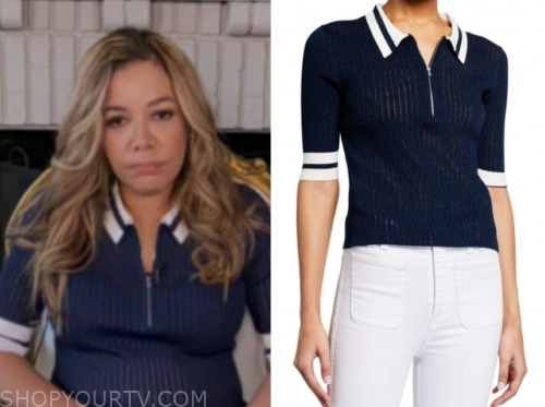 the view, sunny hostin, navy blue and white stripe top