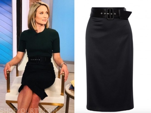 amy robach, good morning america, black belted pencil skirt