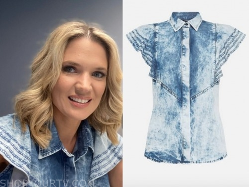 charlotte hawkins, denim ruffle top, good morning britain
