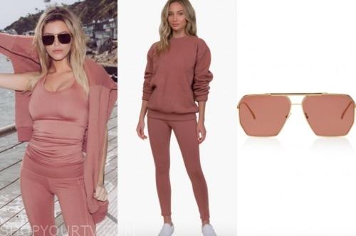 morgan stewart, E! news, pink sweatshirt, tank, leggings, and sunglasses