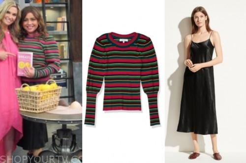 rachael ray, the rachael ray show, striped sweater, black slip dress skirt
