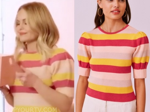 candace cameron bure, pink and yellow stripe top