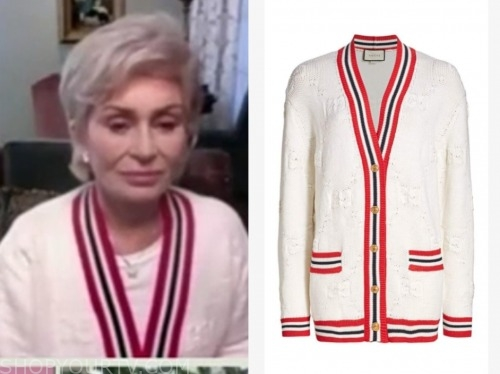 sharon osbourne, the talk, striped trim cardigan sweater
