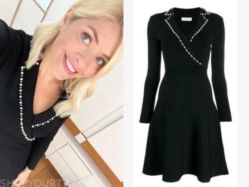 holly willoughby, this morning, black pearl trim dress