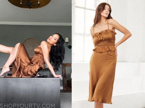 victoria fuller, the bachelor, gold silk top and skirt