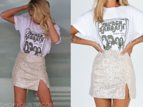 emily ferguson, the bachelor, sequin skirt, black sabbath tee