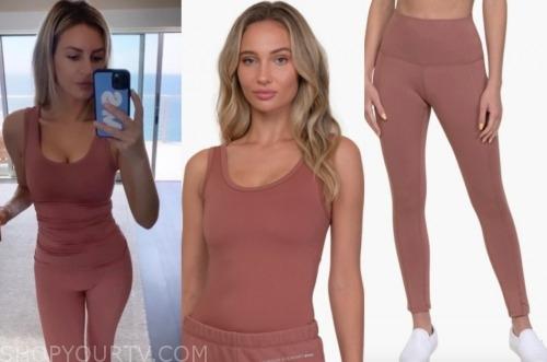 morgan stewart, E! news, pink tank top and leggings