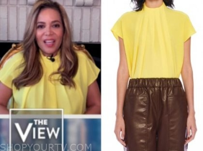 sunny hostin, the view, yellow mock neck top