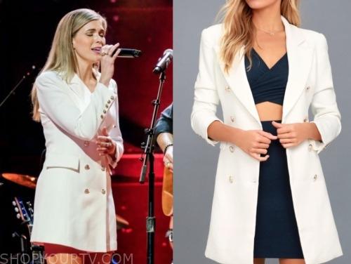 julia, listen to your heart, white blazer dress