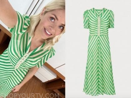 this morning, holly willoughby, green striped midi dress