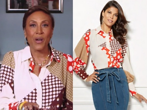 robin roberts, good morning america, dot print blouse
