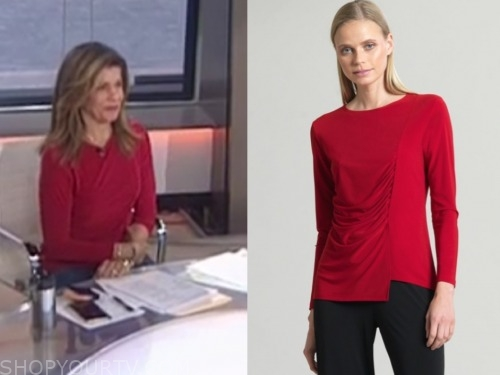 hoda kotb, the today show, red side ruched top