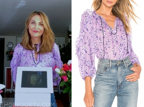 lori bergamotto, good morning america, purple floral blouse