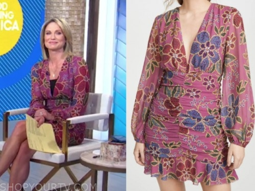 amy robach, good morning america, pink floral dress