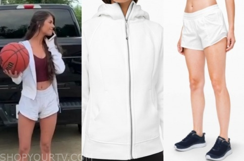 madison, the bachelor, white hoodie and shorts