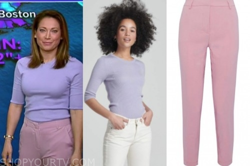 ginger zee, purple cashmere sweater, pink pants, good morning america