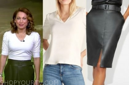good morning america, ginger zee, white top, black leather skirt