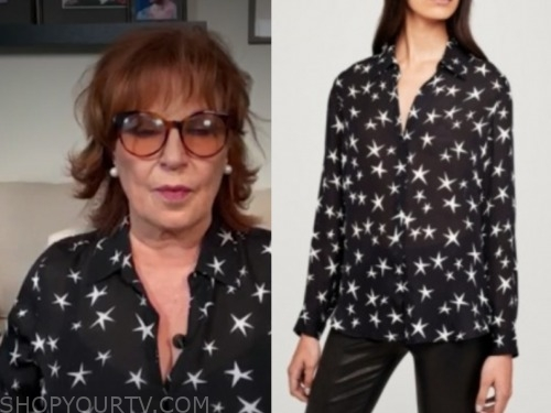 joy behar, the view, black and white star printed blouse