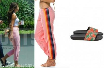 hannah ann sluss, the bachelor, pink sweatpants, gucci slides