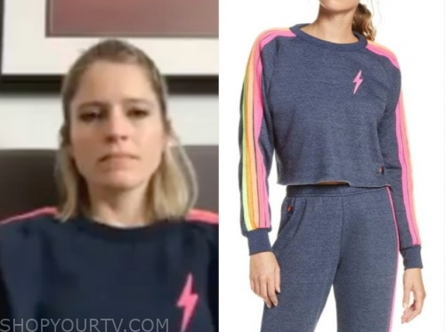 sara haines, good morning america, ssk, blue and pink sweater