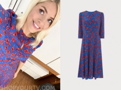 holly willoughby, blue and red floral midi dress, this morning