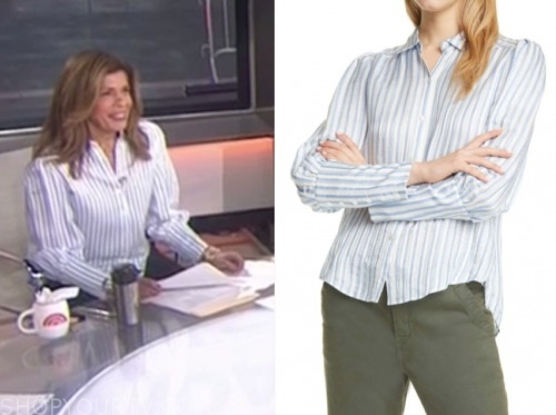 hoda kotb, the today show, blue and white striped shirt