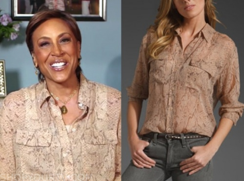 robin roberts, good morning america, python blouse