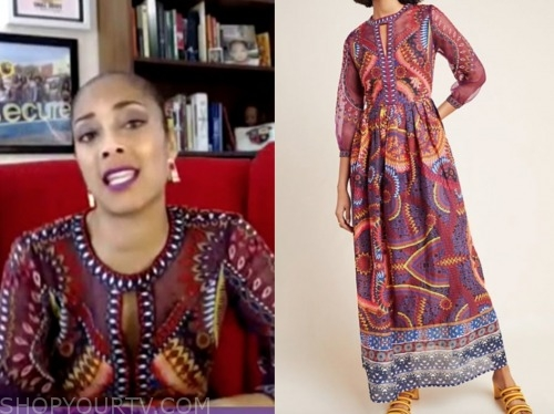 amanda seales, the real, burgundy embroidered dress