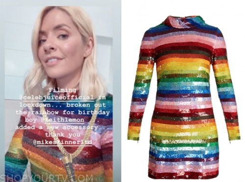 celebrity juice, holly willoughby, sequin stripe rainbow dress